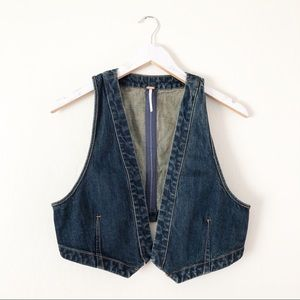 Free People Micro Woven Denim Vest